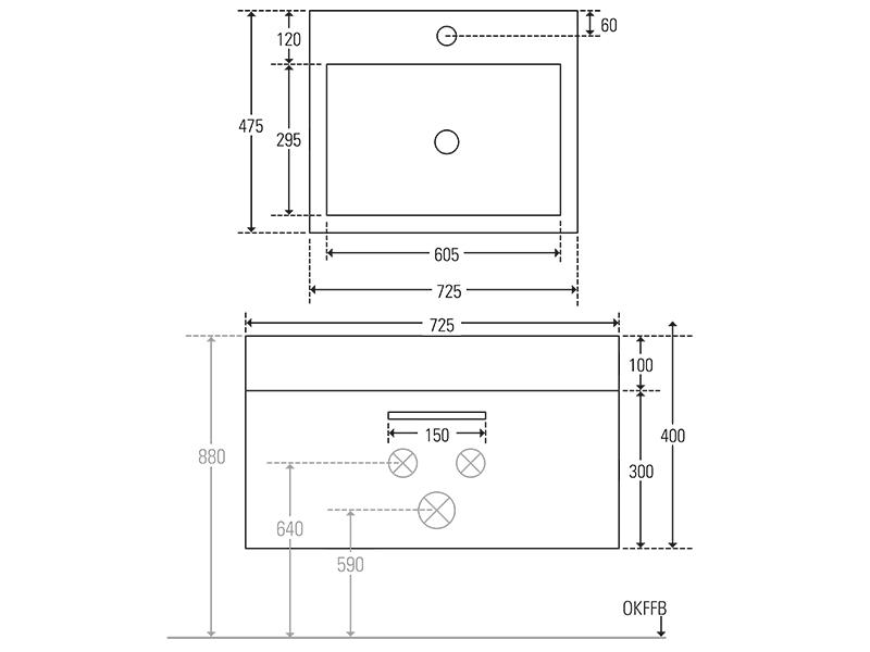 Treos Badmöbel mit Hahnloch wood 725x475x400 mm