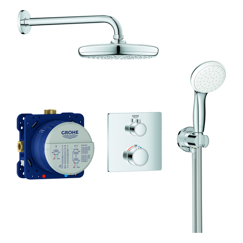 GROHE UP-Duschsystem Grohtherm 34729 mit FMS eck./SmartBox/Kopfb./Brauseset chrom