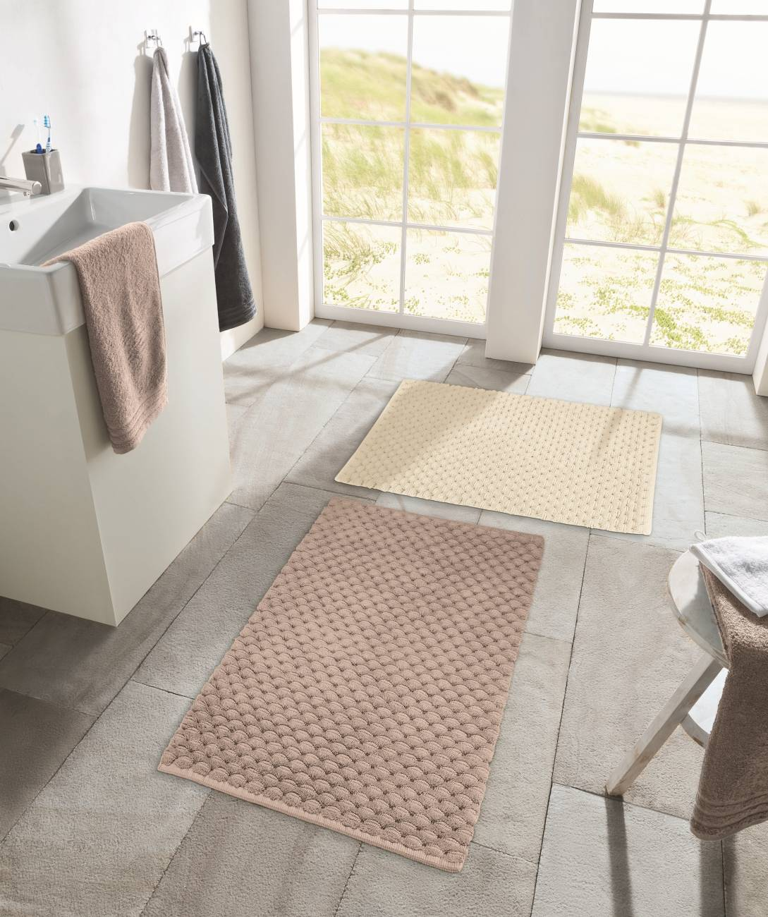 Badteppich Santiago 100 % Baumwolle Natur 50x 60 cm