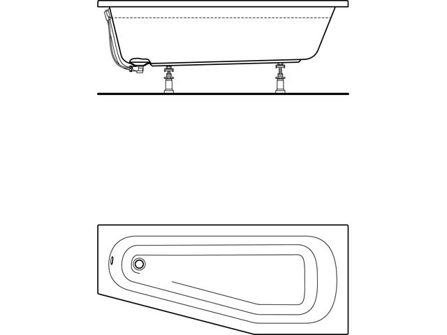 IS Raumspar-Badewanne Hotline Neu 1600x700/450x415mm asym.rechts Weiß