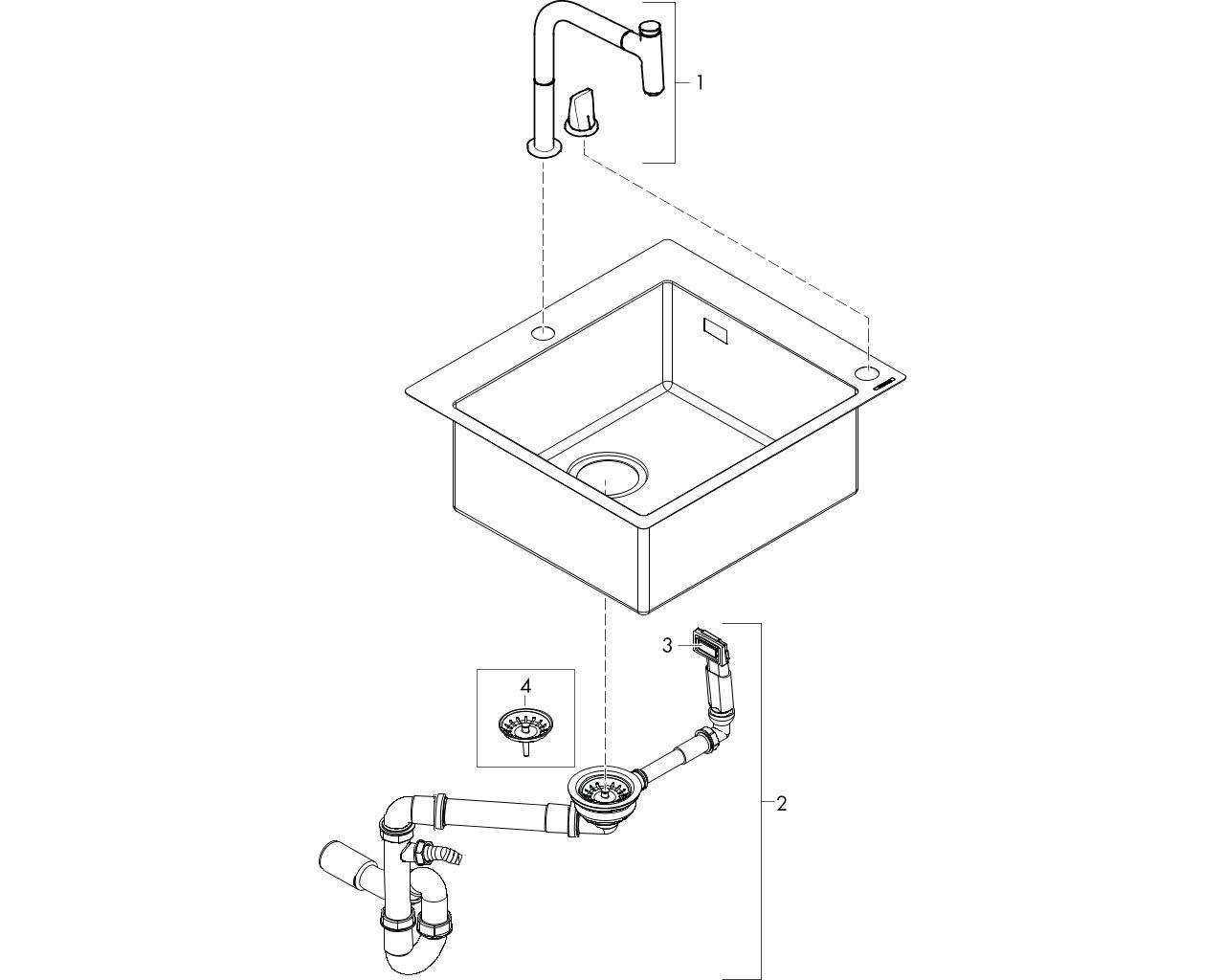 HG Spülencombi C71 edelstahl-optik