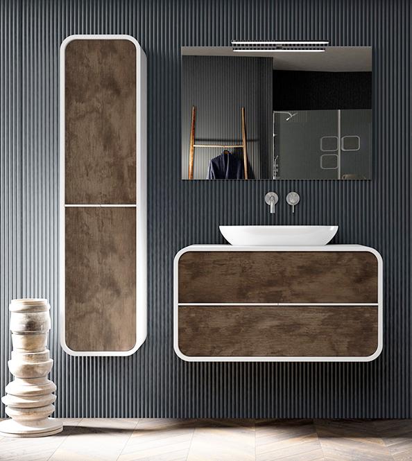 Thielsch Badmöbel Ovalo Set 100 cm Grau Mattlackiert Eiche Pegasus exklusive Wandschrank LED 800 mm