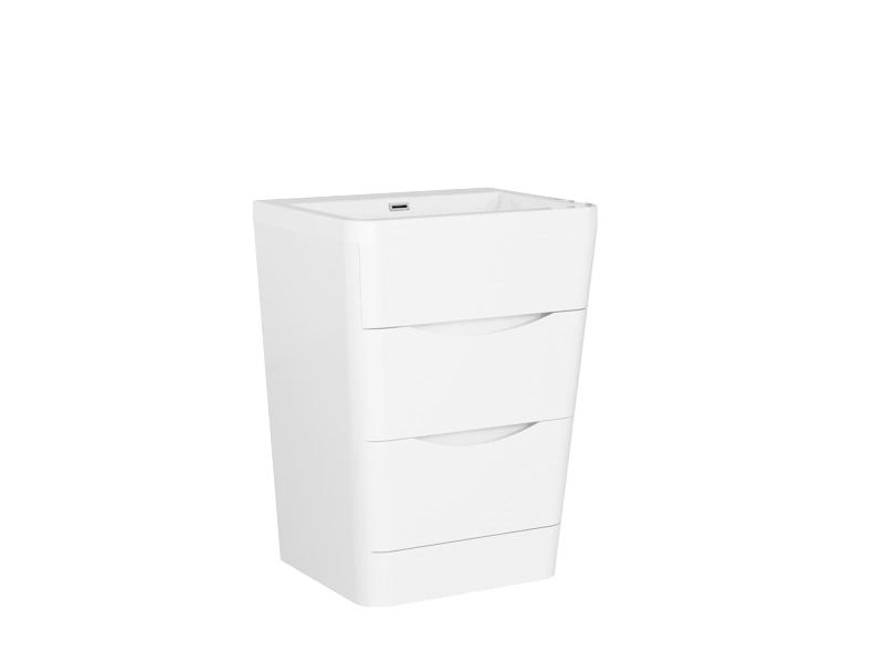 Treos Badmöbel ohne Hahnloch weiss-lack 650x520x840 mm