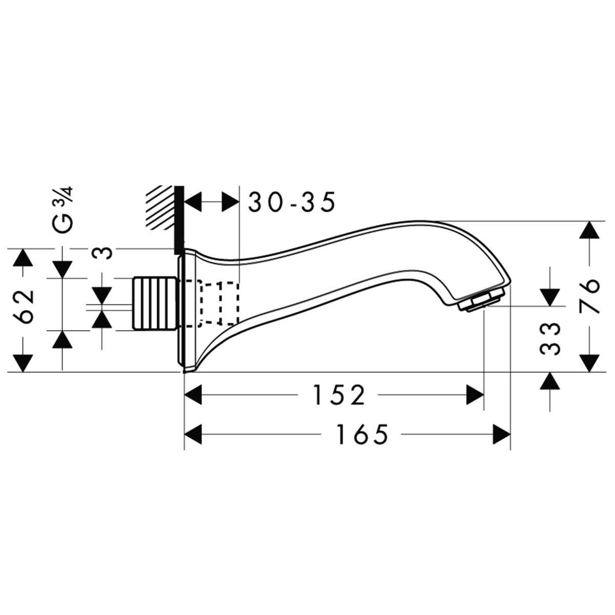 HG Wanneneinlauf Metris Classic DN20 chrom