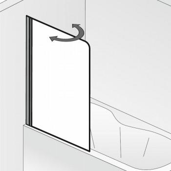 HSK Favorit Nova Badewannenaufsatz, 1-teilig Links Chromoptik ohne Stangengriff Mattglas (sandgestrahlt) mit Beschichtung inkl. Aufmaßservice
