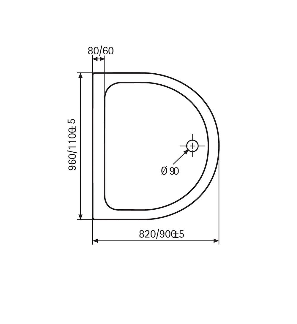 HSK Acryl-Duschwannen, superflach - Halbkreis 110x90 Weiß exkl. AntiSlip-Beschichtung