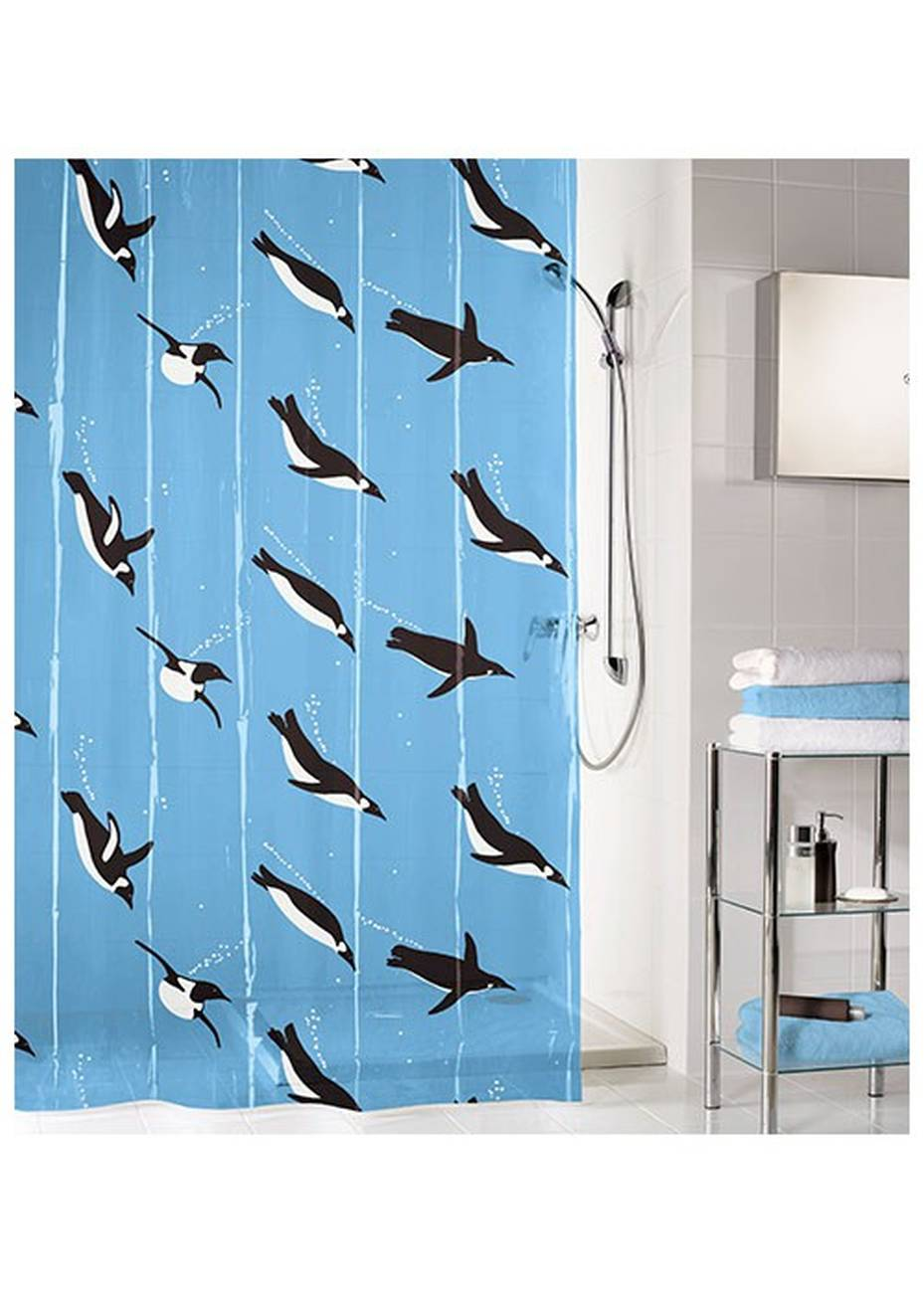 Duschvorhang Penguin PEVA Blau 180x200 cm