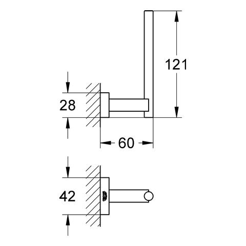 GROHE Reservepapierhalter Essentials Cube 40623_1 hard graphite gebürstet
