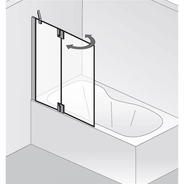 HSK K2P Badewannenaufsatz 1 festes Nebenteil + 1 bewegliches Element Rechts exkl. Aufmaßservice mit Handtuchhalter Klar Hell verspiegelt ohne Beschichtung