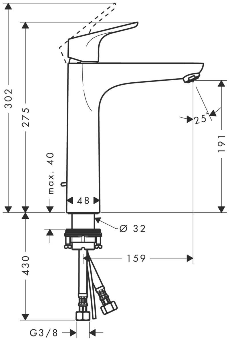 HG Waschtischmischer 230 Focus ohne Ablaufgarnitur chrom
