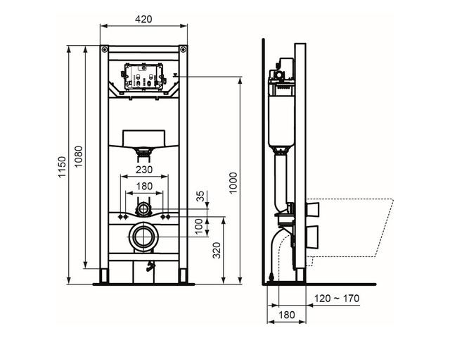 IS WC-Element 120 M ProSys mechanisch freistehend