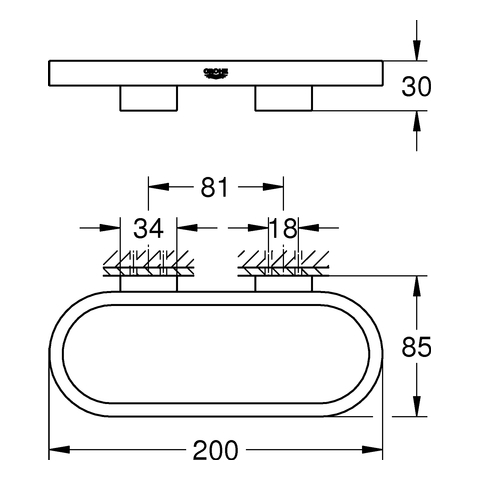 GROHE Handtuchring und Halter Selection 41035 chrom